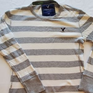 American Eagle Grey and White Striped Long Sleeve